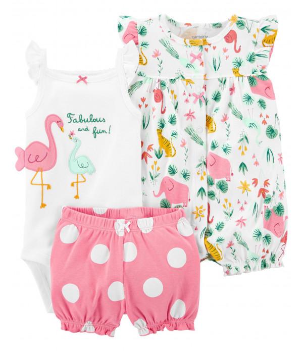 Conjunto Carter's 3 Peças de Flamingo para Menina