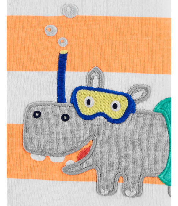 Romper Carter's Masculino Listrado Hipopótamo